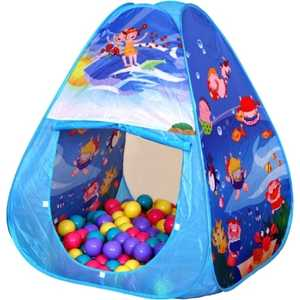 Игровая палатка Ching-Ching Океан, 85х85х100см треугольник + 100 шаров (CBH-01) игровой домик bony 85х85х100см с тоннелем и шариками 100 шт li522