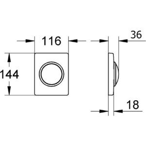 Клавиша смыва Grohe Skate хром матовый (38595P00) от ТЕХПОРТ
