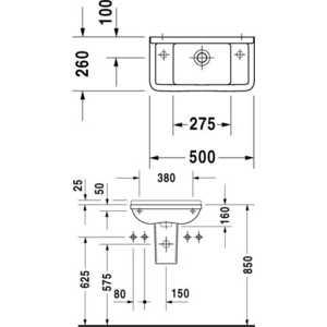 Раковина Duravit Starck 3 50х26 см (0751500000) от ТЕХПОРТ