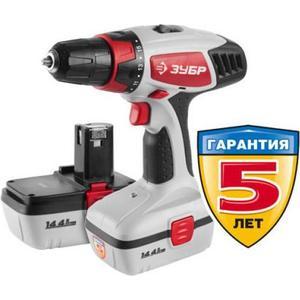 Аккумуляторная дрель-шуруповерт Зубр ЗДА-14.4-2 КИН20