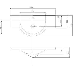 Раковина мебельная Акватон Лацио 95 см (1A702031LC010) раковина мебельная акватон аквастоун 95см 1wh110219
