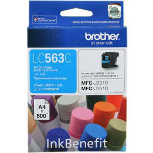 Картридж Brother LC563C картридж brother lc563c голубой картридж струйный стандартная голубой