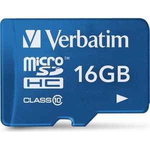 Verbatim microSD 16GB Class 10 UHS-I (SD адаптер) (44043)