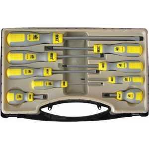 Набор отверток FIT 9шт CrV серо-желтая ручка в чемоданчике (56039)