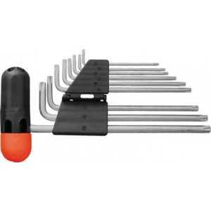 Набор ключей звездочки FIT 9шт CrV Т10-Т50 с отверстием длинные Т-обрезиненной ручкой ''Профи'' (64027)