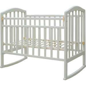 Кроватка Антел Алита-2 колесо/качалка (белый) детские кроватки ивашка мой малыш 5 колесо качалка