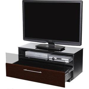 Тумба под телевизор Allegri Бриз 1 800 черный глянец каркас черный стекло черное