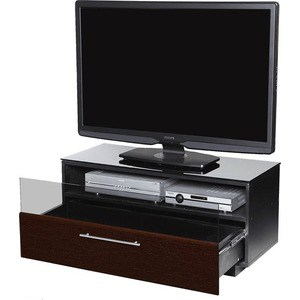 Тумба под телевизор Allegri Бриз 1 1250 черный глянец каркас черный стекло черн