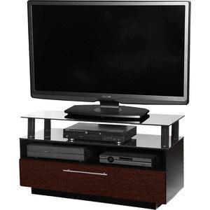 Тумба под телевизор Allegri Бриз 2 800 красная вишня каркас черный стекло черное