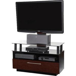 Тумба под телевизор Allegri Бриз 2 1050 с плазмастендом красная вишня каркас черный стекло черное