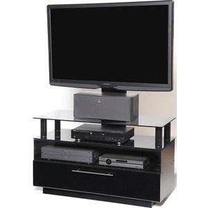 Тумба под телевизор Allegri Бриз 2 1250 с плазмастендом черный глянец каркас черный стекло черн