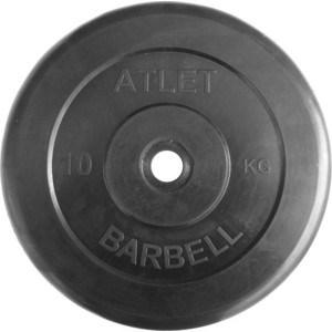 Диск обрезиненный Atlet 26 мм 10 кг черный