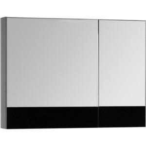 Зеркальный шкаф Aquanet Верона 90 черный (камерино) (172340) зеркало шкаф aquanet верона 90 дуб белый