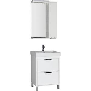Комплект мебели Aquanet Гретта 60 №1 цвет белый комплект мебели aquanet гретта 60 4 цвет венге фасад белый