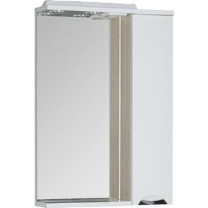 Зеркальный шкаф Aquanet Гретта 60 цвет св дуб (фасад белый) (173985) фасад мдф со стеклом сантук 716х446мм шампань светлый техно