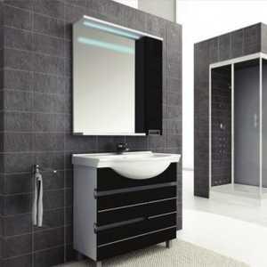 Купить комплект мебели Aquanet Доминика 100 цвет бел (фасад черный) (327833) в Москве, в Спб и в России