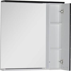 Зеркальный шкаф Aquanet Доминика 80 LED цвет бел (фасад черный) (171082)