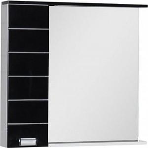 Зеркальный шкаф Aquanet Доминика 90 LED R цвет бел (фасад черный) (176572) зеркало de aqua трио 90 r белый фурнитура хром