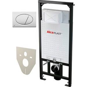 Комплект Alca Plast 4 в 1 инсталляция A101/1200 с клавишей M071 с шумоизоляцией M91 с крепежом (A101+M071)