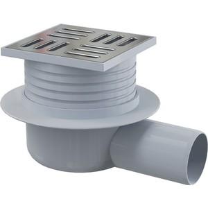 Трап Alca Plast сливной 105х105/50 мм заниженный с решеткой из нержавеющей стали (APV26)