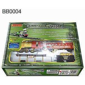 Железная дорога Bondibon ''Восточный экспресс'' в наборе с платформой, 5820 мм ''8 - ка'', 22 детали с дымом