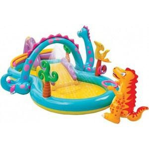 Игровой центр - бассейн Intex Dinoland 333х229х112 см от 3 лет 57135/57135NP надувной игровой центр intex манеж с погремушкой 130х104см от 0 3 лет 48474