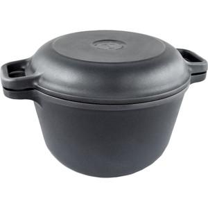 Казан с крышкой-сковородой Нева-Металл 3 л Титан 9830
