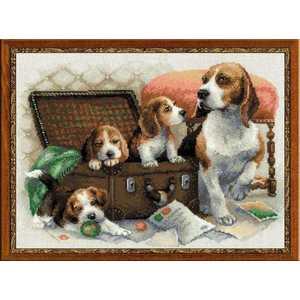 Набор для вышивания Сотвори Сама Собачье семейство 1328 канва с рисунком для вышивания бисером hobby
