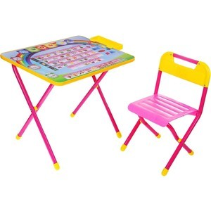 Набор мебели Дэми Алфавит стол и стул (розовый)