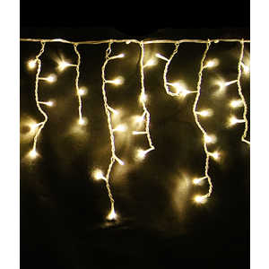 Light Светодиодная бахрома жёлтая 4,9x0,5 прозрачный провод. (мерц.)