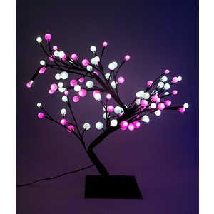 Светодиодная композиция Light ''Бонсай'' шарики белый-розовый 60 см, 96 led.