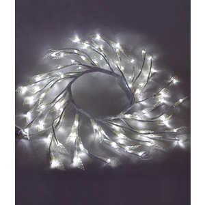 Светодиодная композиция Light ''Венок с прозрачными листьями'' белый 50 см