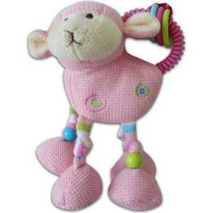 Жирафики Развививаюшая игрушка погремушка Овечка, розовая 939282