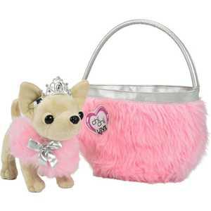 Chi Chi Love Плюшевая собачка Чихуахуа принцесса, с розовой пушистой сумкой, 20 см 5890618 Mia and Me