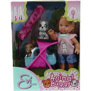 Smoby Кукла Еви с двумя собачками и коляской, 12 см., 5733080