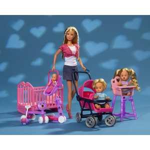 Smoby Кукла Штеффи + дети + принадлежности 5736350 маникюрные принадлежности