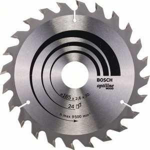 Диск пильный Bosch 165х30мм 24зуба Optiline Wood (2.608.640.602) диск пильный твердосплавный bosch optiline wood 130x20x20 16 2 608 640 582