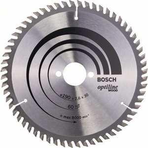 Диск пильный Bosch 190х30мм 60зубьев Optiline Wood (2.608.641.188) диск пильный твердосплавный bosch optiline wood 130x20x20 16 2 608 640 582