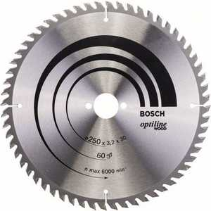 Диск пильный Bosch 250х30мм 60зубьев Optiline Wood (2.608.640.729) bosch ppr 250 06032a0000