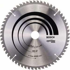 Диск пильный Bosch 254х30мм 60зубьев Optiline Wood (2.608.640.436) диск пильный твердосплавный bosch optiline wood 130x20x20 16 2 608 640 582