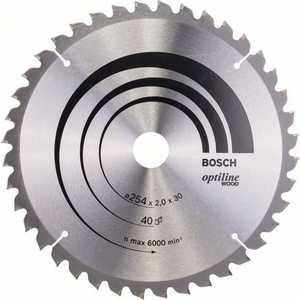 Диск пильный Bosch 254х30мм 40зубьев Optiline Wood (2.608.640.435) диск пильный hitachi 335х30мм 40зубьев tct saw blade 752477