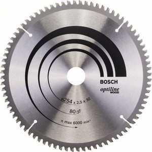 Диск пильный Bosch 254х30мм 80зубьев Optiline Wood (2.608.640.437)  коническое шлифкольцо 30 мм зерно 80 bosch 1600a00157