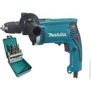 Дрель ударная Makita HP1631KX2 + набор сверл (D-46202) дрель ударная makita hp1631kx2