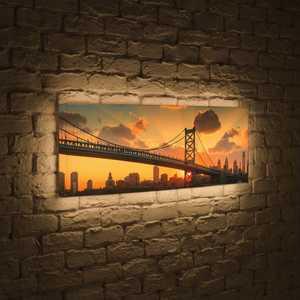 FotonioBox Лайтбокс панорамный Бруклинский мост на рассвете 45x135-p020