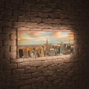 "FotonioBox Лайтбокс панорамный ""Над городом"" 35x105-p018"
