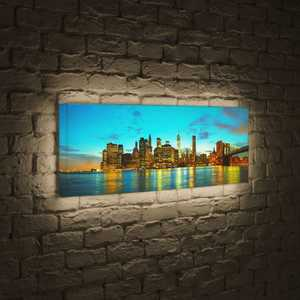 FotonioBox Лайтбокс панорамный Огни большого города 35x105-p005