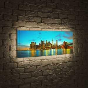 FotonioBox Лайтбокс панорамный Огни большого города 45x135-p005