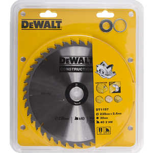 Диск пильный DeWALT 235х30/25.4/20/16мм 40зубьев Construction (DT 1157)