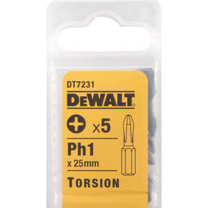 Бит DeWALT PH1 х25мм 5шт Torsion (DT 7231)