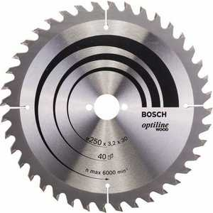 Диск пильный Bosch 250х30мм 40зубьев Optiline Wood (2.608.640.728) bosch ppr 250 06032a0000